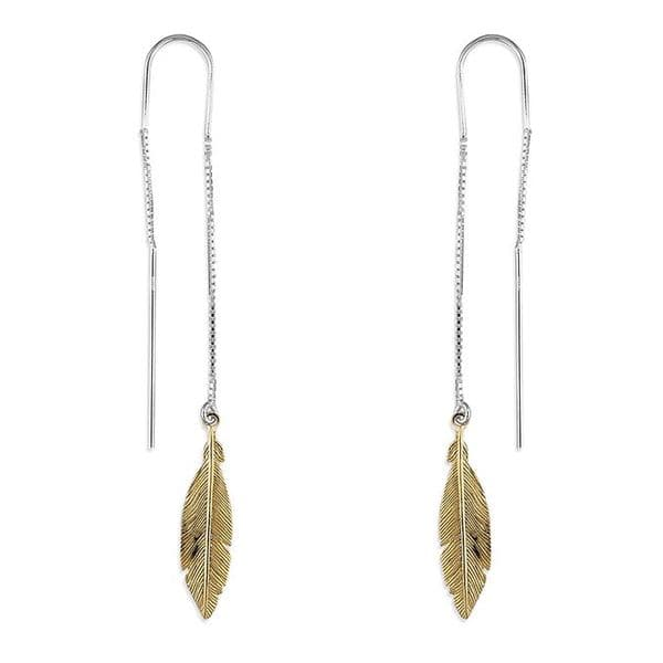 Silver pull through feather earrings