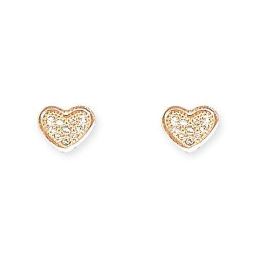 Silver & rose gold & cz heart earrrings