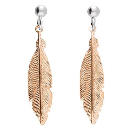 Silver & rose gold feather earrings