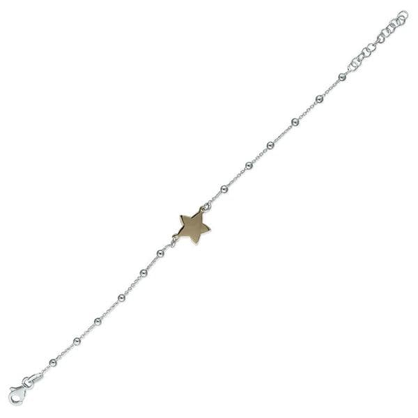Silver & rose gold star bracelet