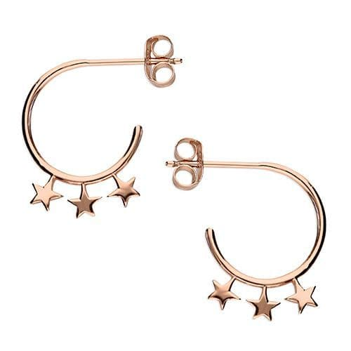 Silver & rose gold star hoops