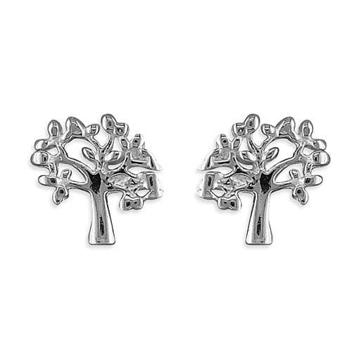 Tree of life stud earrings - silver or rose gold