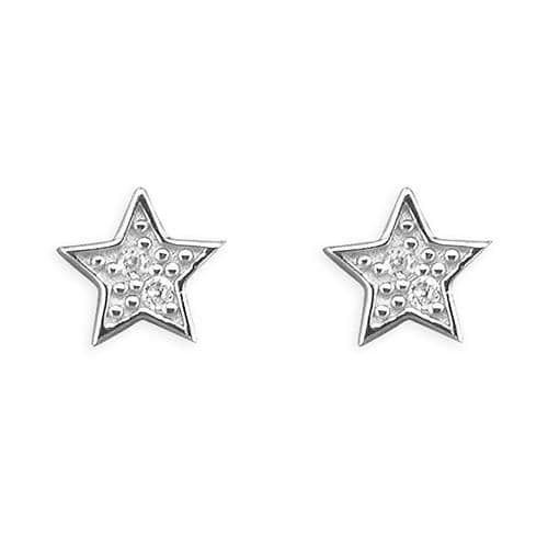 Wedding jewellery - silver & cz star earrings