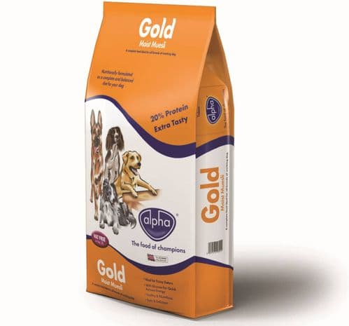 15kg Alpha Gold Moist Muesli Complete Dog Food
