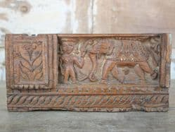 19th Century Architectural Carving in Teak of an Elephant with Mahout