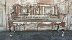 Antique Colonial Bench with Vintage Tiles & Faded Cream Paint, Gujarat <b>SOLD<b>