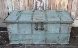 Antique Dowry Chest Coffee Table with faded blue tones, <b>SOLD<b>