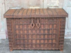 Antique Dowry Chest Console with detailed iron work, Gujarat <b>SOLD<b>