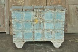Antique Dowry Chest on Wheels with soft blue paint colours <b>SOLD<b>