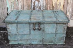 Antique Dowry Chest with faded aqua paint tones <b>SOLD<b>
