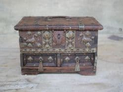 Antique Jewellery Box with Brass Peacocks <b>sold<b>