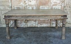 Antique Thakat Dining Table in Bleached Wood, Thar Desert, Rajasthan circa 1890 - <b>Sold<b>