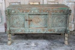 antique tribal dowry chest with horse head carvings,  saurashtra circa 1900 <b>SOLD<b>