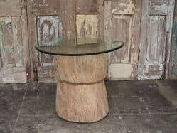 Antique Tribal Mortar Side Table with Glass Top <b>SOLD<b>