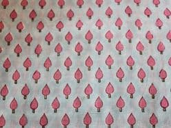 Blue Hand Block Printed Fabric with Pink Trees