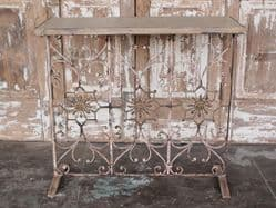 Brass & Iron Vintage Console Table with Marble Top <b>NEW YEAR SHIPMENT<b>