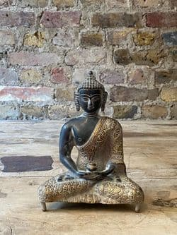 Bronze Meditation Buddha with Golden Robes & Hand Mudra in the Dhyana Pose <b>RESERVED<b>