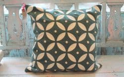 Crewel Embroidery Cushion in Teal Blue