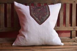 Cushion made from vintage linen and an antique embroidery