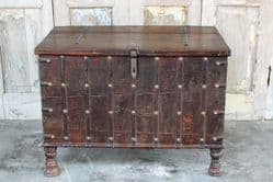 Dark Teak Merchant's Chest, Bombay circa 1920 <b>SOLD<b>
