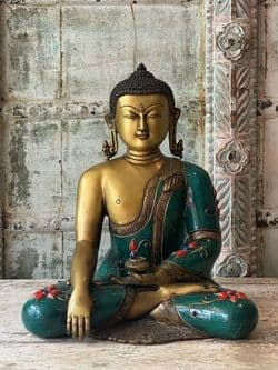 Golden Englightenment Buddha with decorated turquoise robes - Bhumisparsha Mudra