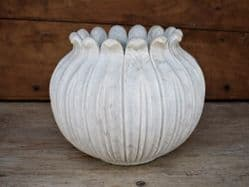 Hand Carved marble lotus planter, large