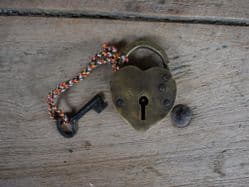 Heart Shaped Brass Padlock - Vintage