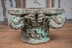 Large Teak Pillar Corbel with green faded paint <bSOLD<b>