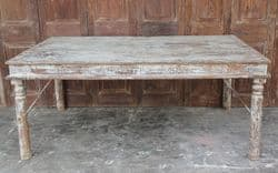 Late 19th Century Thakat Dining Table with faded cream paint <b>SOLD<b>