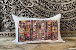 Linen & vintage embroidered cushion