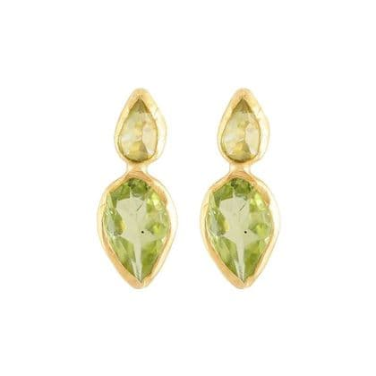 Marquise Peridot Double Drop Studs