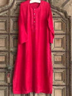 Pure Silk Kaftan with Embroidery - Ruby Red
