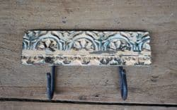 Vintage Architectural Panel with 2 iron hooks