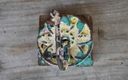 Vintage Flower Hook with Yellow & Green Paint