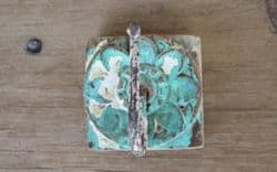 Vintage Hook with Green Paint