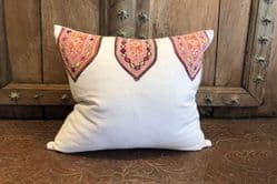 Vintage Indian Textile Cushion Made From French Linen