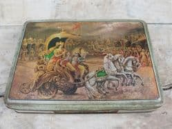 Vintage Indian Tin Box with Image from the Bhagavad Gita