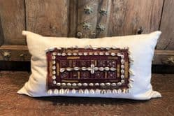 Vintage textile cushion with shells