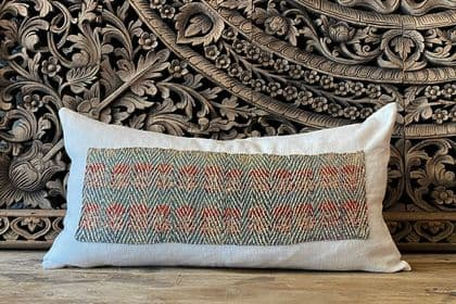 vintage textile cushions with french linen