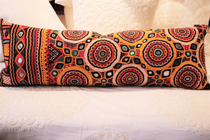 Vintage Tribal Embroidery Cushion backed in linen