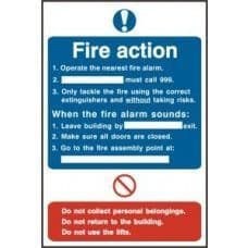 SIGN FIRE ACTION PROCEDURE 200x300MM 0165