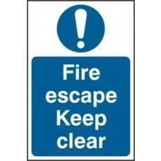 SIGN FIRE ESCAPE KEEP CLEAR 200x300MM 0158