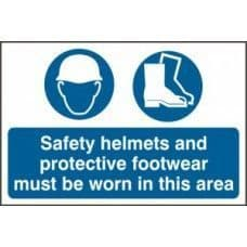 SIGN SAFETY HELMETS AND PROTECTIVE FOOTWEAR MUST... 600x400MM 4001