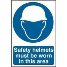 SIGN SAFETY HELMETS MUST BE WORN IN THIS AREA 200x300MM 0002