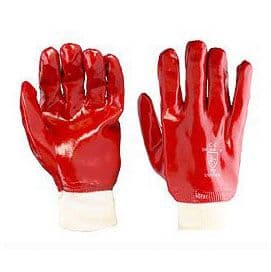 GLOVES RED RUBBER KNIT WRIST
