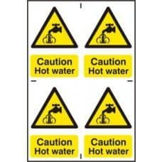 SIGN CAUTION HOT WATER 200x300MM  1309
