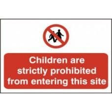 SIGN CHILDREN ARE STRICTLY PROHIBITED FROM ENTERING...600x400MM 4054