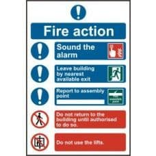 SIGN FIRE ACTION PROCEDURE 200x300MM 0178