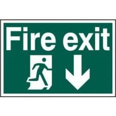 SIGN FIRE EXIT RUNNING MAN ARROW DOWN 300x200MM 1503