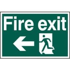 SIGN FIRE EXIT RUNNING MAN ARROW LEFT 300x200MM 1506